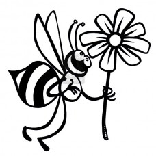 "Наклейка на авто ""Пчёлка с цветком"""